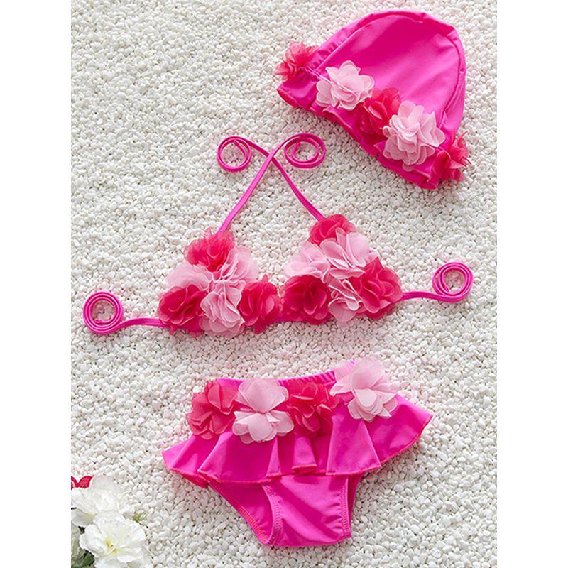 Kiskissing rose 3-piece Flowers Swimwear Set Bikini Waterproof Hat for Baby Toddler Girls wholesale kids swimwear
