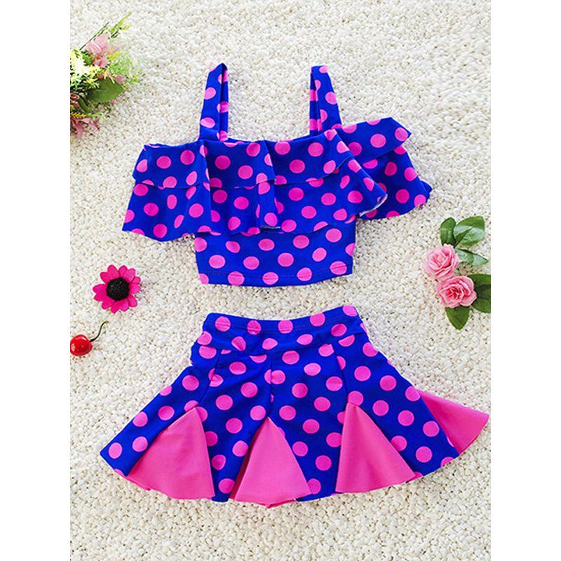 Kiskissing 2-piece Dots Print Elastic Swimwear Set Strapped Top Skirt Shorts for Big Girls wholesale kids swimsuit