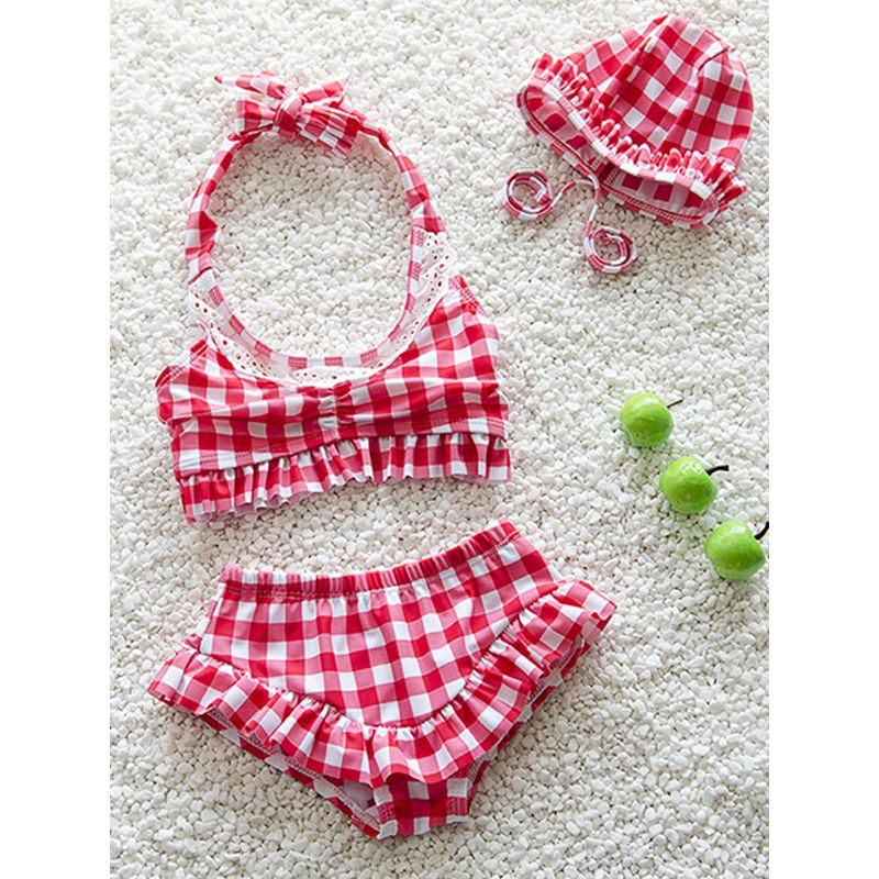 Kiskissing red 3-piece Plaid Swimwear Set Bikini Hat Top Shorts for Baby Toddler Girls wholesale kids swimsuit