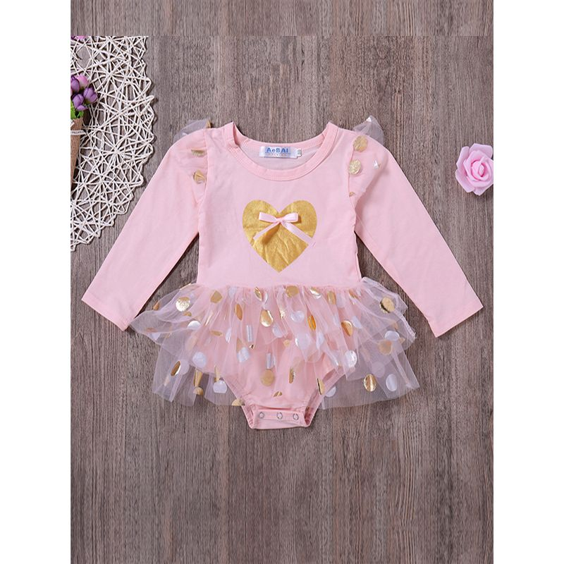 Kiskissing Pink Long Sleeves Romper Jumpsuit With Tulle Skirt For Baby Girls wholesale baby onesies the obverse side