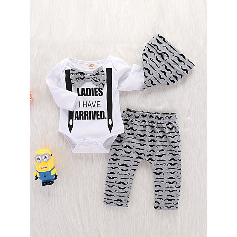 Kiskissing 3-piece Hat Romper Pants Baby Set Pointed Hat Bow Letters Printed Bodysuit Beard Print Trousers wholesale kids clothing suppliers the obverse side