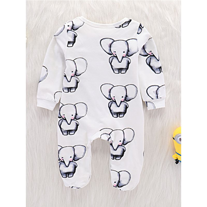 Kiskissing Elephant Printed Long Sleeves Baby Onesies Jumpsuit White wholesale baby jumpsuits