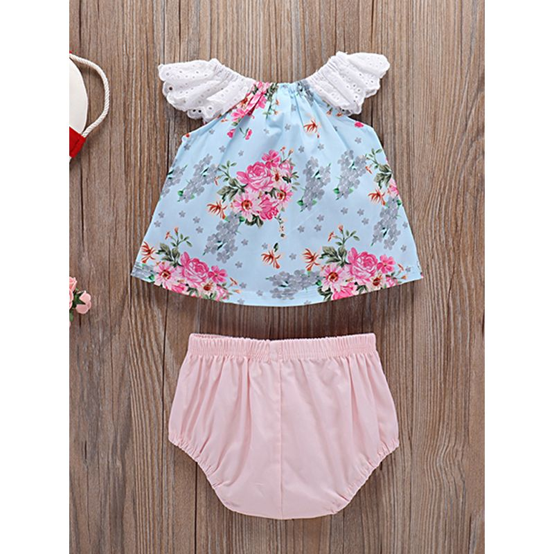 Kiskissing 2-piece Top Panties Baby Girls Set Cap Sleeves Lace Floral Top Pink Panties kids wholesale clothing