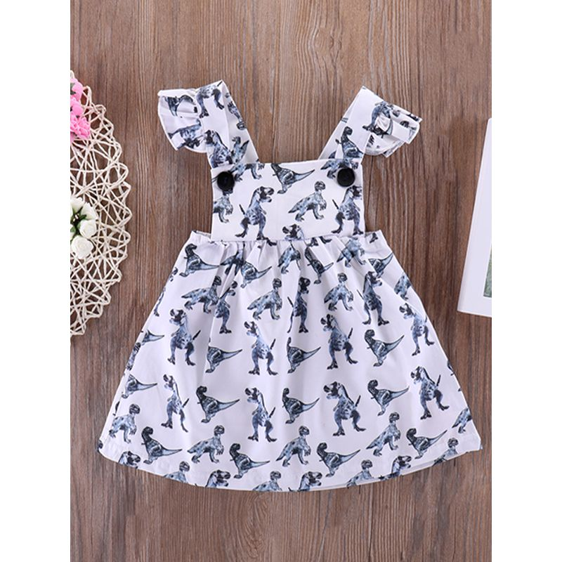 Kiskissing Dinosaurs Printed Cap Sleeves Suspender Dress White Baby Girls wholesale baby clothes