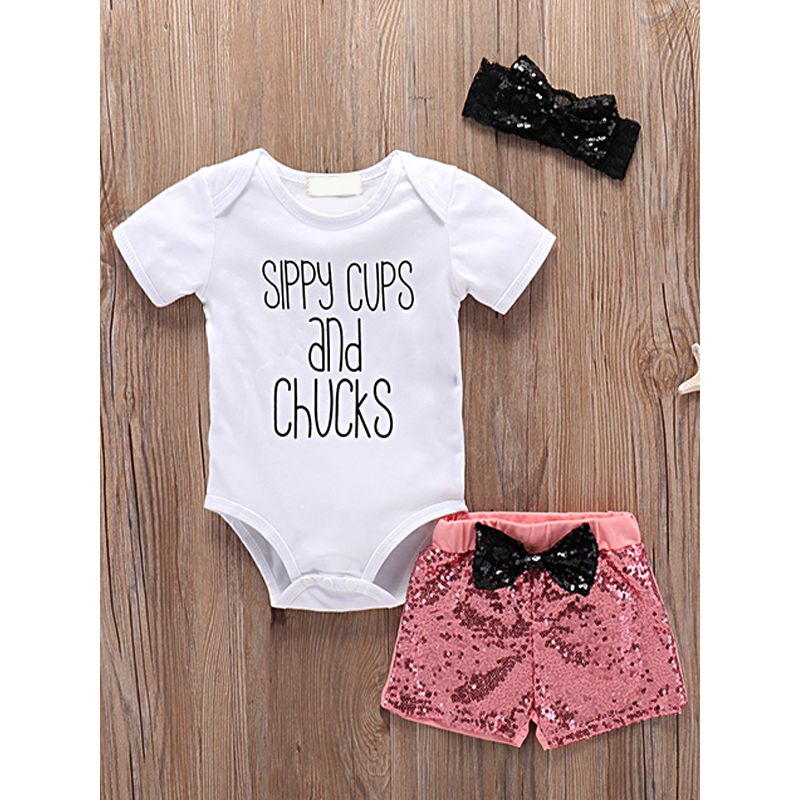 Kiskissing 3-piece Headband Romper Shorts Baby Set Letters Printed White Bodysuit Sequins Orange Shorts the obverse side trendy kids wholesale clothing