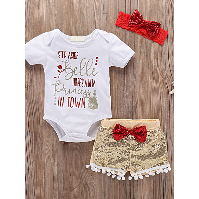 Kiskissing 3-piece Headband Romper Shorts Baby Set Letters Printed Bodysuit Bow Sequins Shorts For Babies the obverse side wholesale kids clothing suppliers