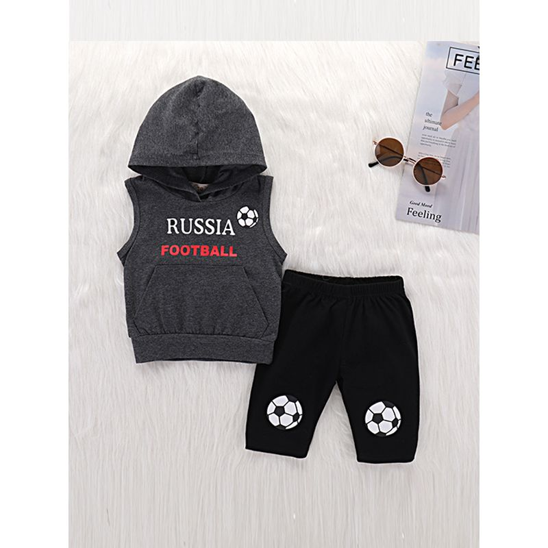Kiskissing 2-piece Top Pants Baby Set Letters Football Printed Hoodie Vest Black Trousers wholesale baby clothes the obverse side