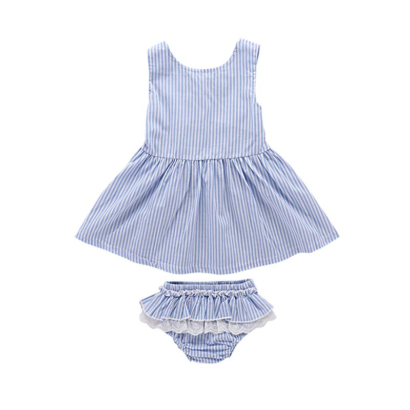 Kiskissing 2-piece Stripes Dress Panties Baby Girls Set Blue Striped Dress Lace-trimmed Panties wholesale baby dresses the obverse side