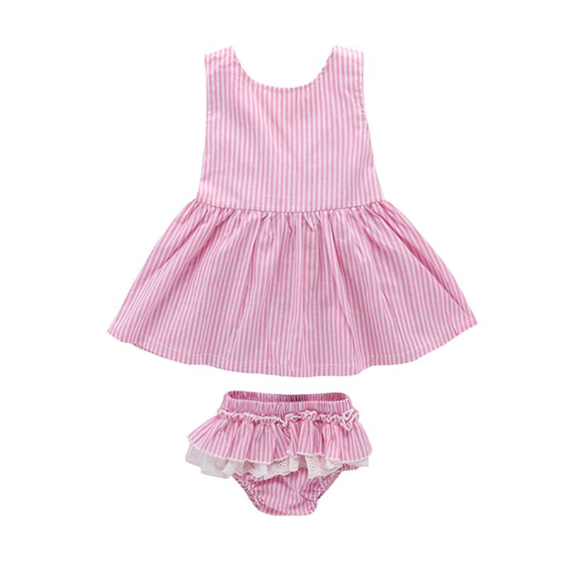 Kiskissing 2-piece Red Stripes Dress Panties Baby Set Bow Backless Dress Lace-trimmed Panties kids wholesale clothing