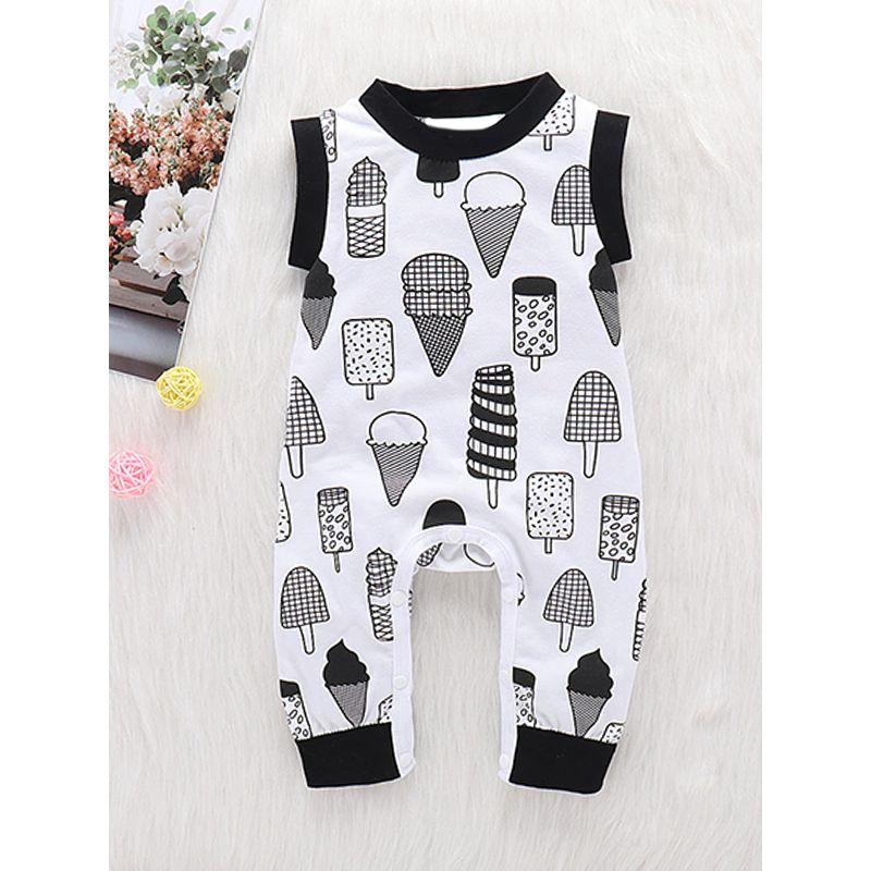 Kiskissing Icecreams Printed Sleeveless Baby Romper Jumpsuit wholesale baby onesies the obverse side