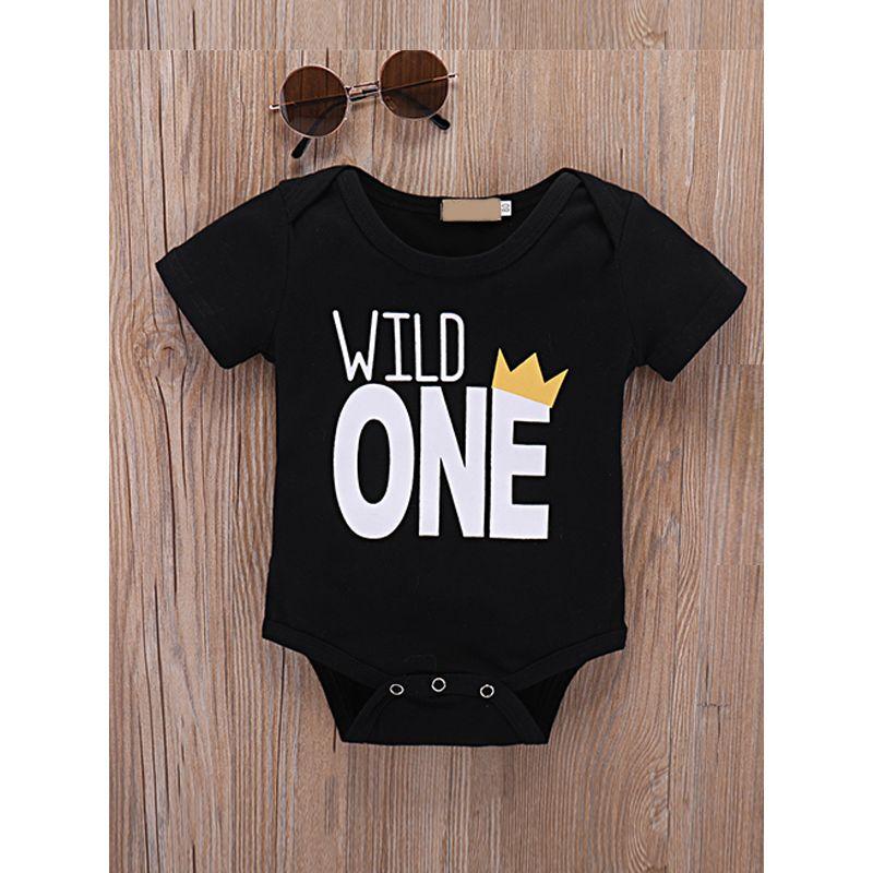 WILD ONE Letters Printed Baby Romper Bodysuit Short Sleeves Black