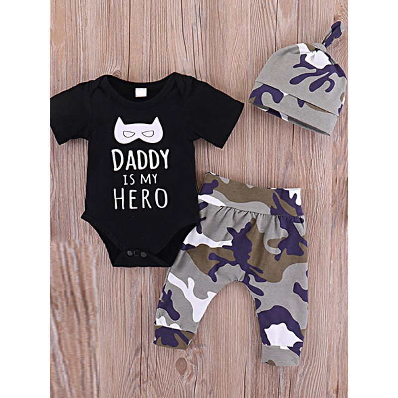 Kiskissing 3-piece Hat Romper Pants Baby Set Letters Print Black Bodysuit Camouflage Trousers wholesale childrens clothing the obverse side