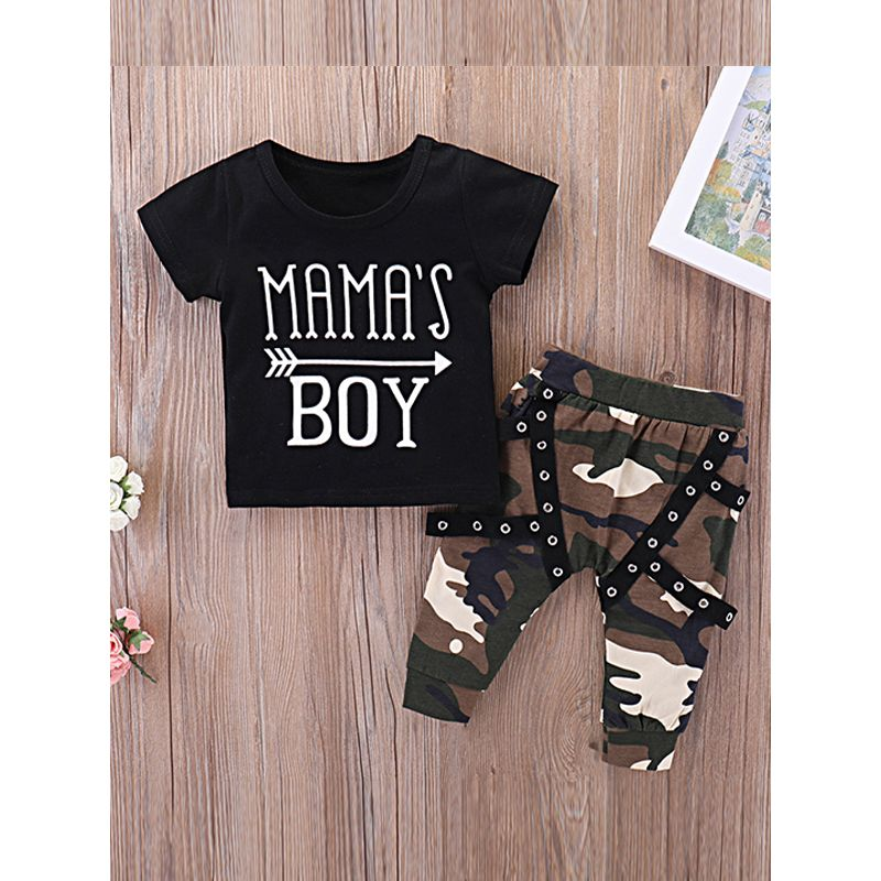 Kiskissing 2-piece Tees Pants Set Letters Arrow Print T Shirt Camouflage Trousers for Baby Toddlers Boys trendy kids wholesale clothing the obverse side