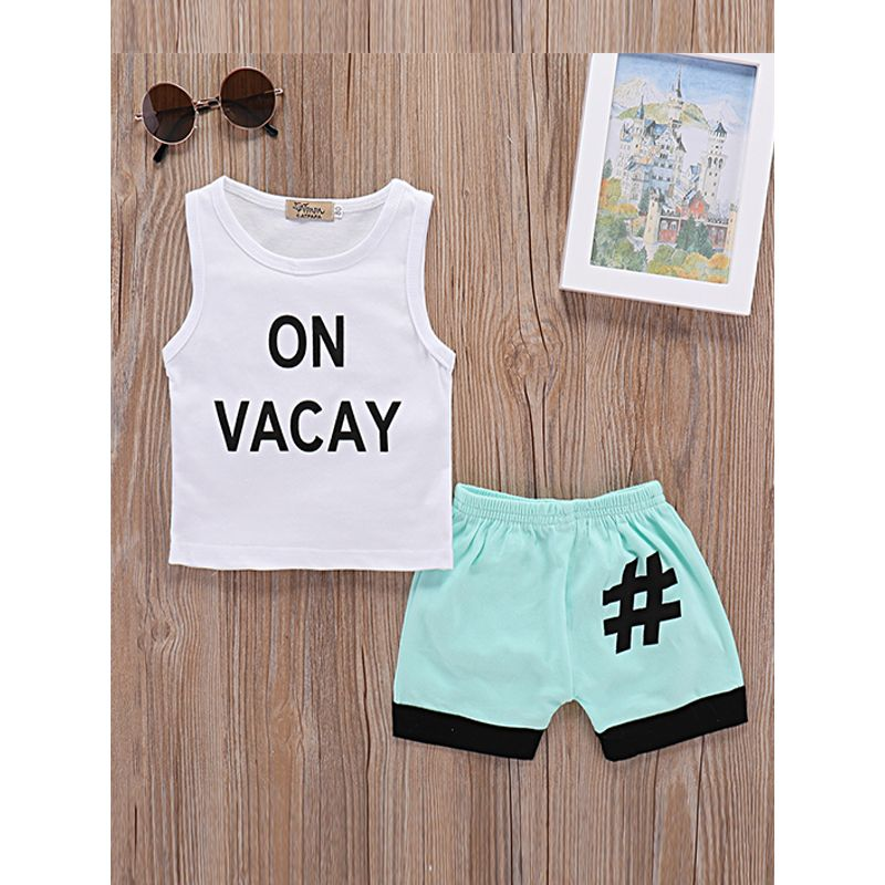 Kiskissing 2-piece Top Shorts Baby Set Letters Printed Sleeveless Tees Blue Shorts wholesale baby clothes