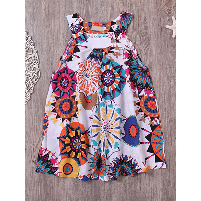 Kiskissing Floral Printed Sleeveless Baby Girls Suspender Dress kids wholesale clothing
