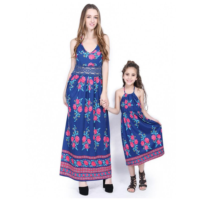 Kiskissing Mom And Me Girls Floral Print Dress Lace Strapped Sleeveless Family Matching the model show wholesale family clothes