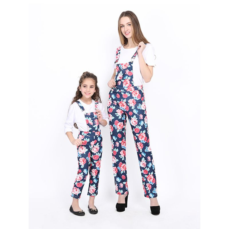 Mommy And Me Floral Jumpsuit Overalls Strapped  Trousers