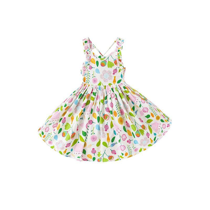 Plants Print Strapped Cotton Dress  Big Hem Sleeveless for Toddlers Girls