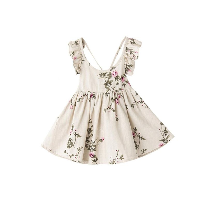 2-piece Floral Linen Dress Headband Set Strapped Sleeveless for Toddlers Girls