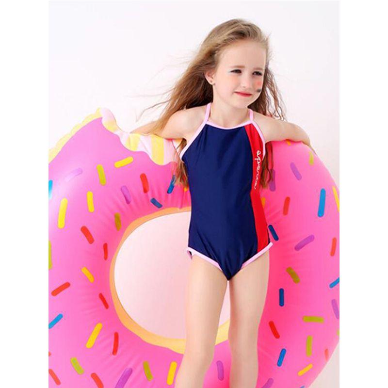 Kiskissing One-piece Strapped Swimwear Backless Beach Wear High Elastic for Toddlers Girls wholesale kids swimwear