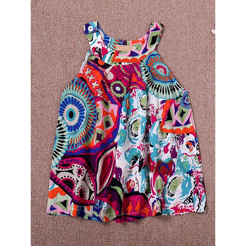 Kiskissing Sleeveless Floral Printed Suspender Dress For Toddler Girls the obverse side children's boutique clothing wholesale