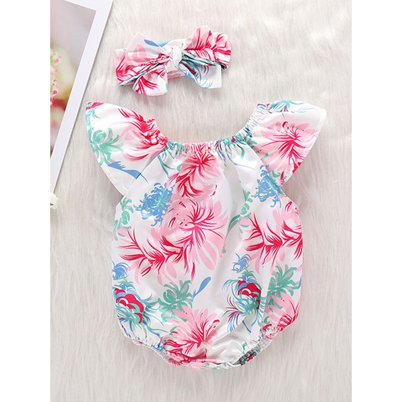 Kiskissing 2-piece Headband Romper Baby Set Floral Print Romper Bodysuit For Baby Girls wholesale baby onesies the obverse side