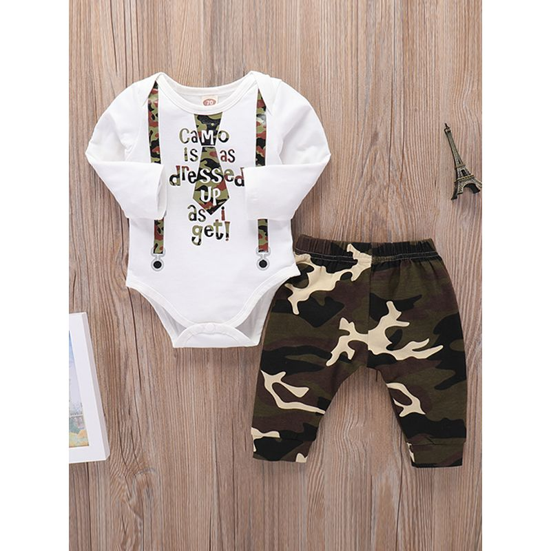 Kiskissing 2-piece Romper Pants Baby Set Long Sleeves Printed Bodysuit Camouflage Long Trousers trendy baby clothes wholesale the obverse side