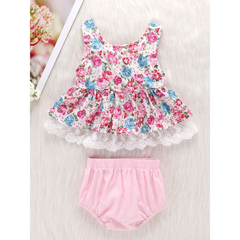 602c41cb5cf Kiskissing 2-piece Dress Panties Baby Set Floral Printed Lace-trimmed Dress  Pink Cotton