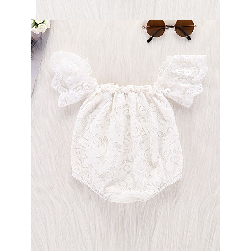 Kiskissing Cap Sleeves Lace Baby Romper White Bodysuit baby rompers wholesale