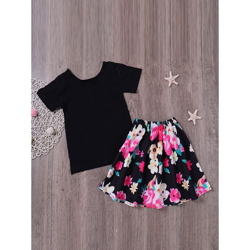Kiskissing 2-piece Top Skirt Toddler Set Black Short Sleeves Tees Floral Printed Skirt For Toddlers Kids kids wholesale clothing