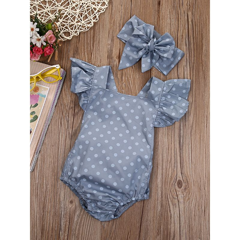 Kiskissing 2-piece Headband Romper Baby Set Bow Hairband Polka Dots Grey Bodysuit kids wholesale clothing the obverse side