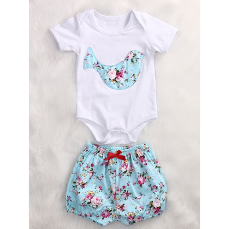 Kiskissing 2-piece Romper Shorts Baby Set Dolphin Printed White Bodysuit Floral Blue Shorts wholesale baby clothes the obverse side