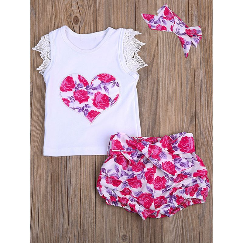 Kiskissing 3-piece Headband Top Panties Baby Girls Set Heart Floral Tees Bow Floral Panties wholesale childrens clothing the obverse side