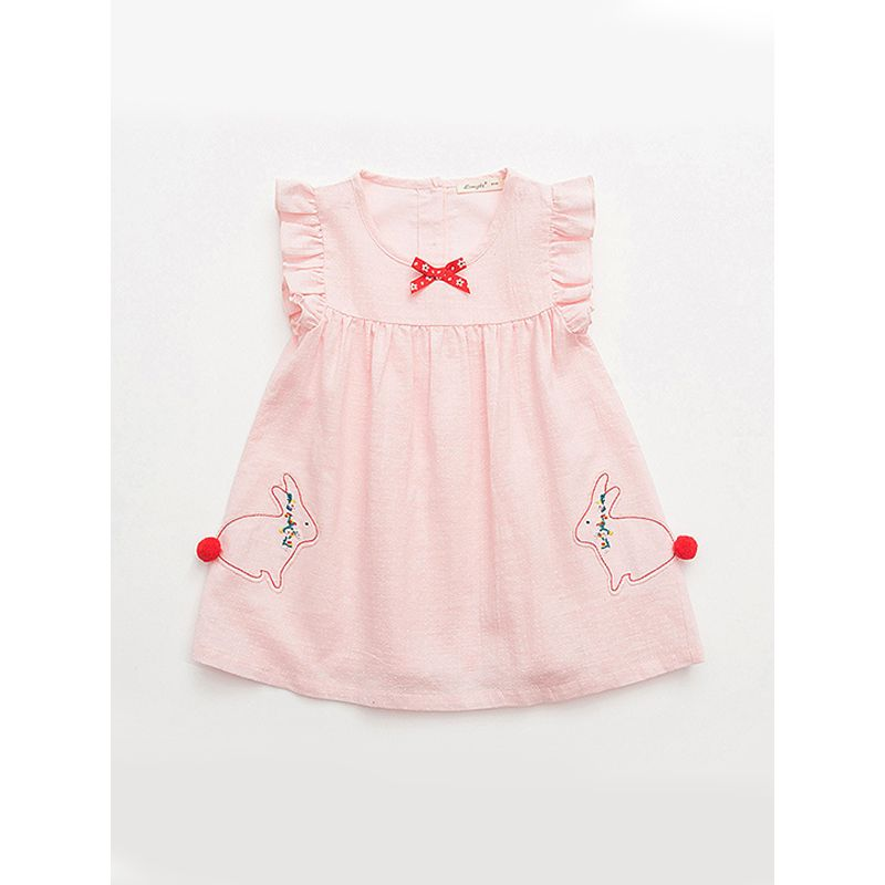 Kiskissing pink Cute Rabbit Pattern Embroidered Dress Sleeveless Buttoned Woven Fabric for Toddlers Girls kids wholesale clothing the obverse side