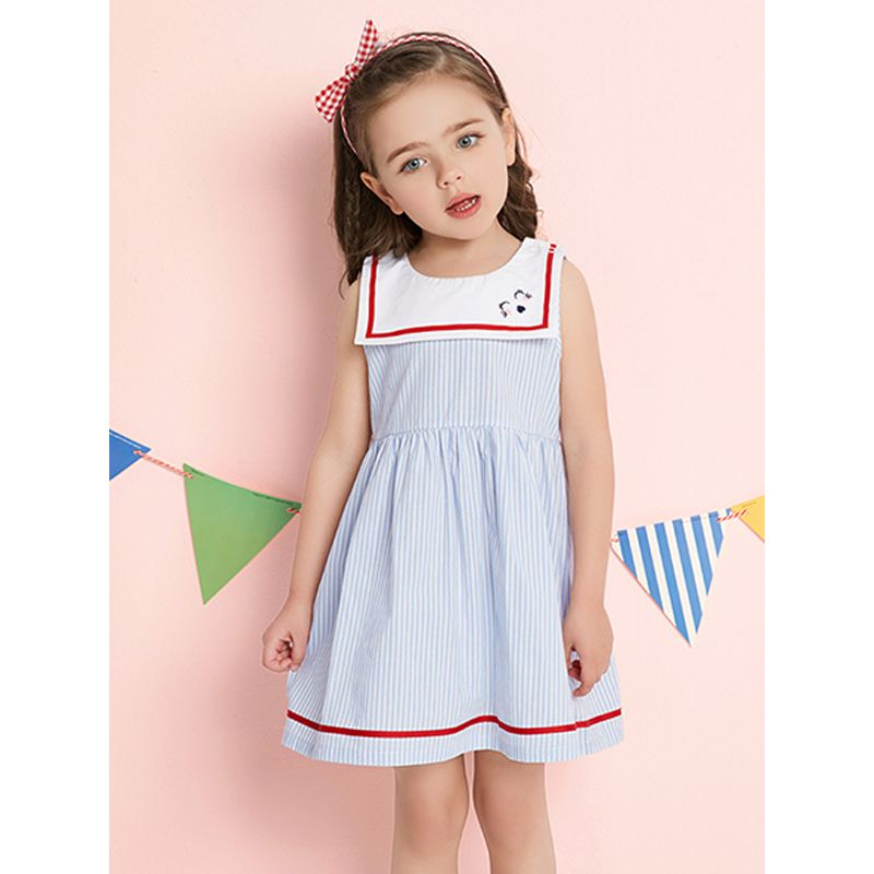 Kiskissing Navy Style Cartoon Embroidery Striped Dress Sleeveless for Toddlers Girls trendy toddler clothes wholesale the model show