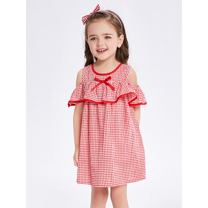 Kiskissing Flounced Bow-knot Gingham Dress Off-shoulder Buttoned for Toddlers Girls the model show kids wholesale clothing