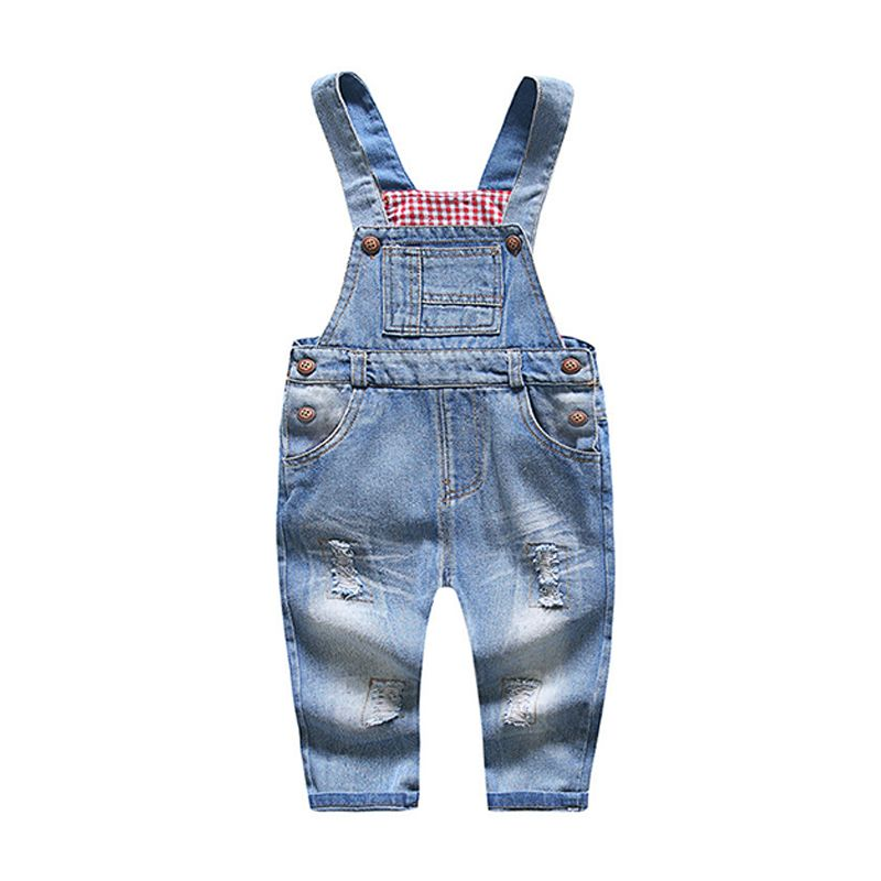 Kiskissing Denim Cotton Overalls Relax Fitting Jumpsuit Strapped for Baby Boys Girls wholesale baby jumpsuits the obverse side