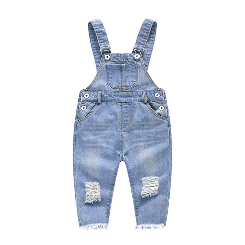 Kiskissing Denim Cotton Breathable Overalls Relax Fitting Jumpsuit Strapped Pockets for Baby Toddler Boys Girls the obverse side wholesale baby clothes