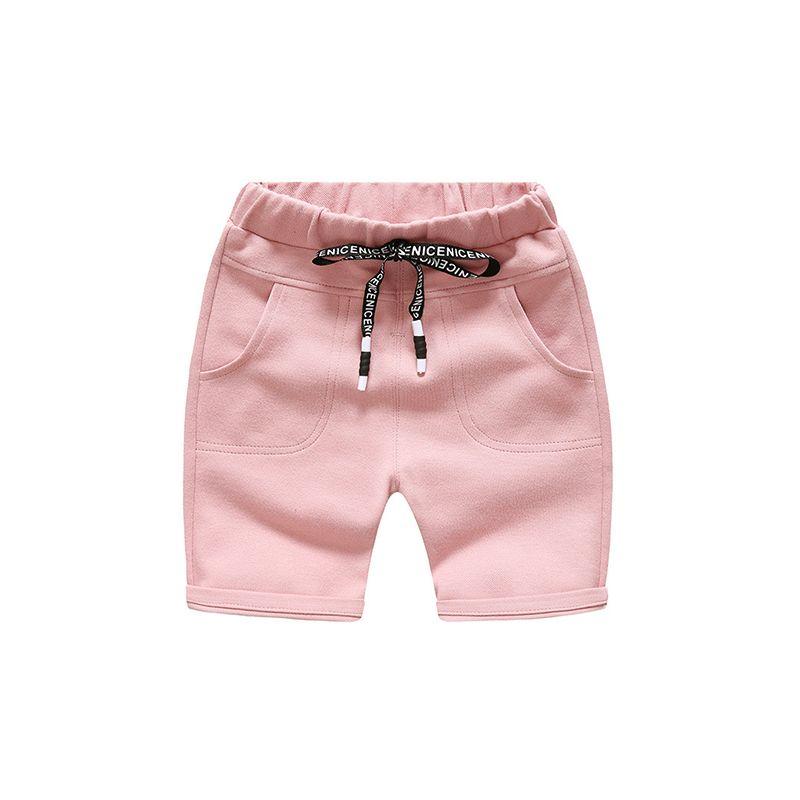 Kiskissing pink Cotton Knitted Solid Color Shorts Adjustable Belt Pockets for Toddlers Boys kids wholesale clothing