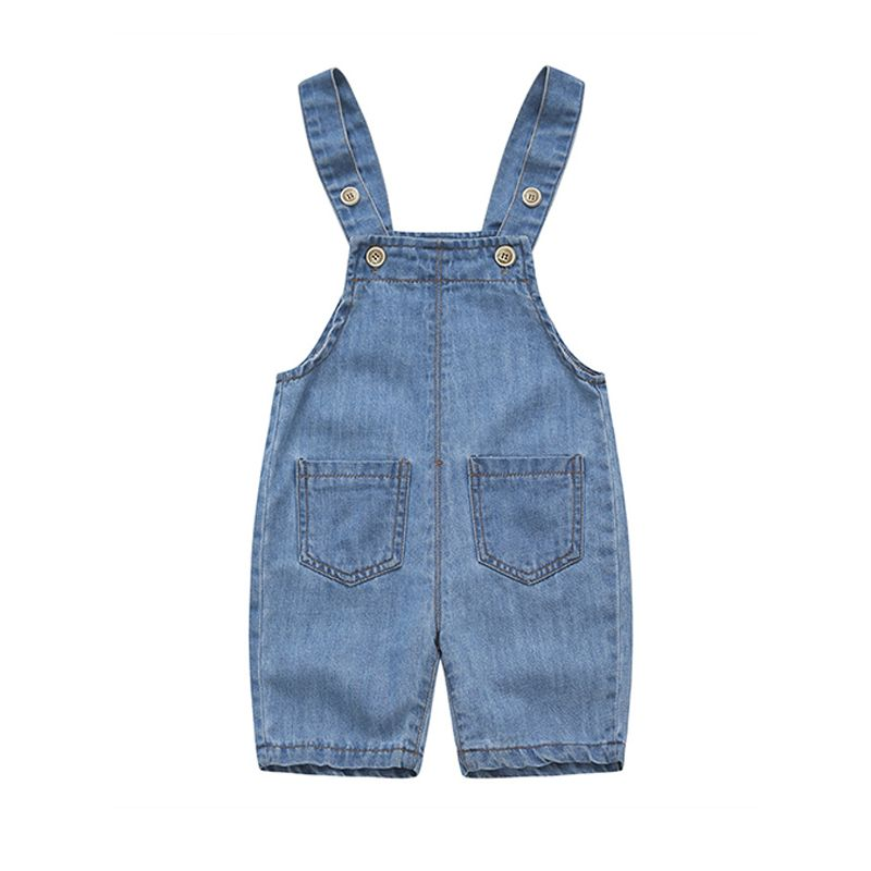 Kiskissing Denim Breathable Overalls Jumpsuit Shorts Strapped Pockets for Baby Toddler Boys Girls wholesale baby clothes the obverse side