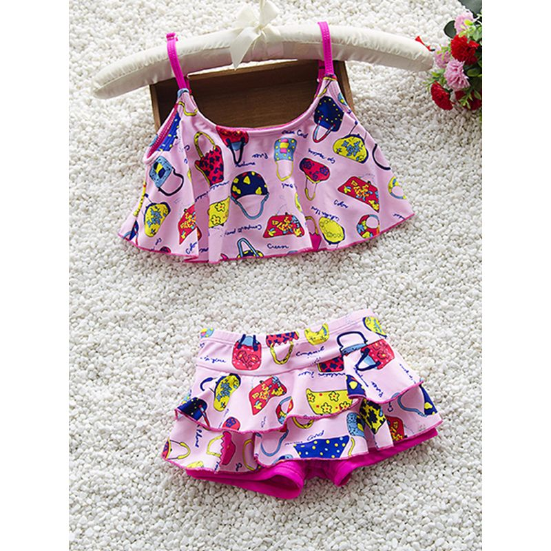 Kiskissing pink 2-piece Cartoon Print Swimwear Set Strapped Top Shorts for Girls wholesale kids clothing suppliers
