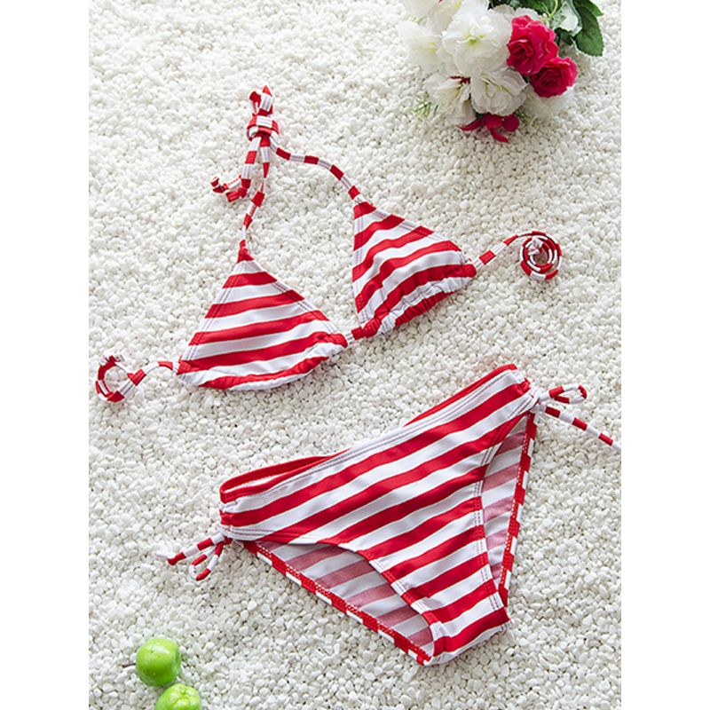 Kiskissing red 2-piece Striped Bikini Swimwear Set Strapped Top Shorts for Girls wholesale kids swimsuit