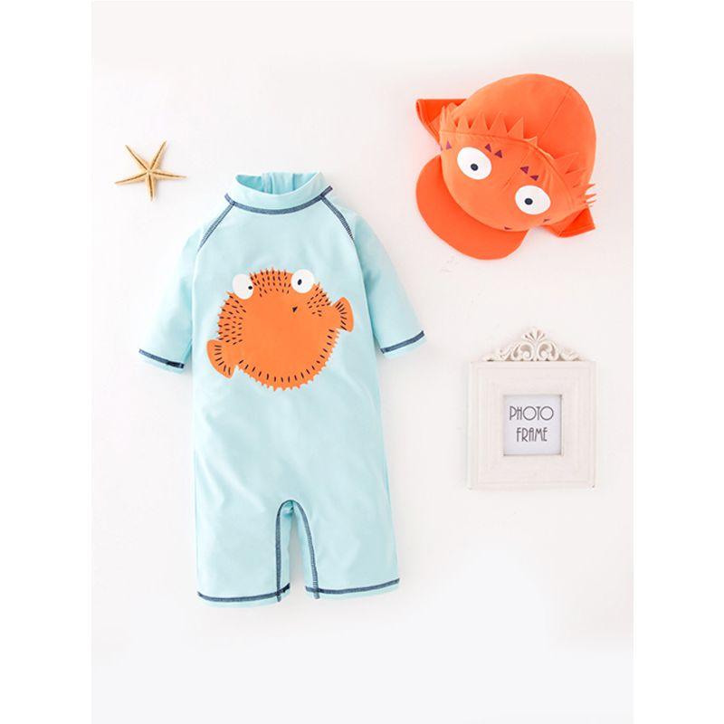 2-piece Cartoon Puffer Pattern Swimwear Hat Set Long-sleeve Elastic for Toddlers Boys
