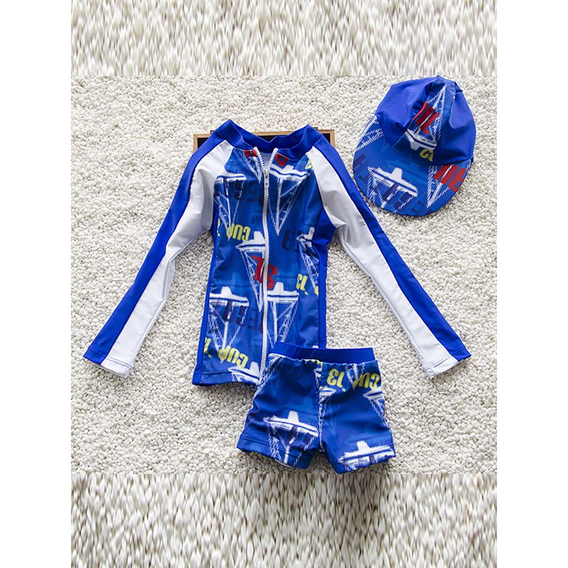 3-piece Letters Print Elastic Swimwear Set Long-sleeve Top Shorts Hat for Babies Toddlers Boys