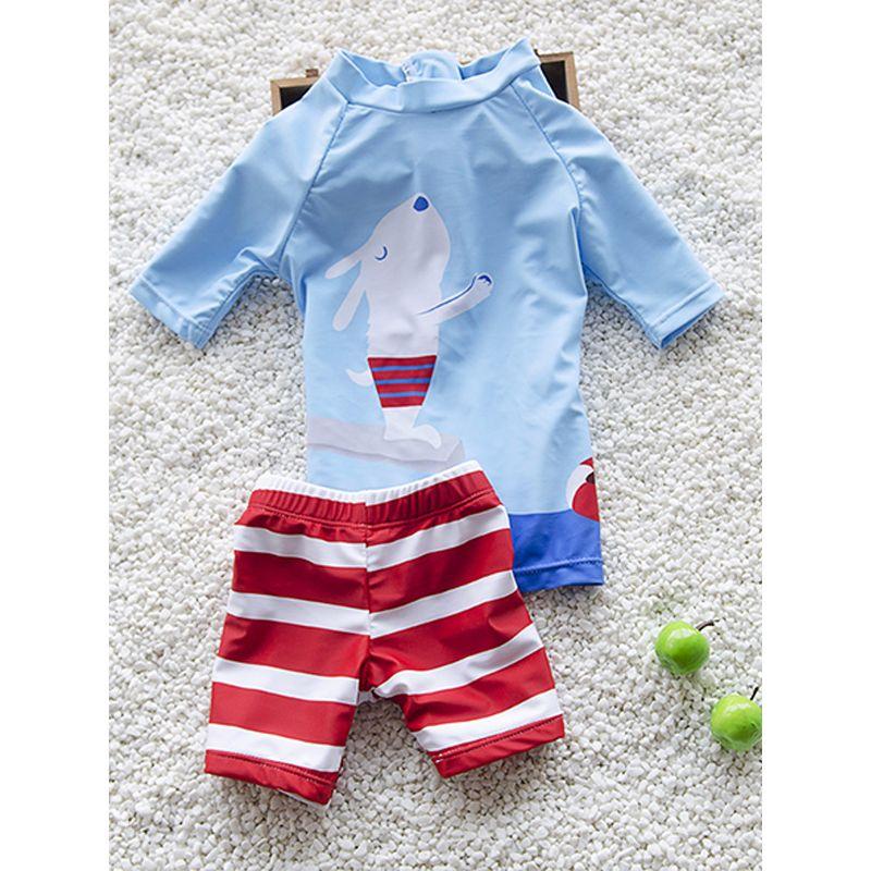 2-piece Cartoon Print Elastic Swimwear Set Long-sleeve Top Striped Shorts for Babies Toddlers Boys