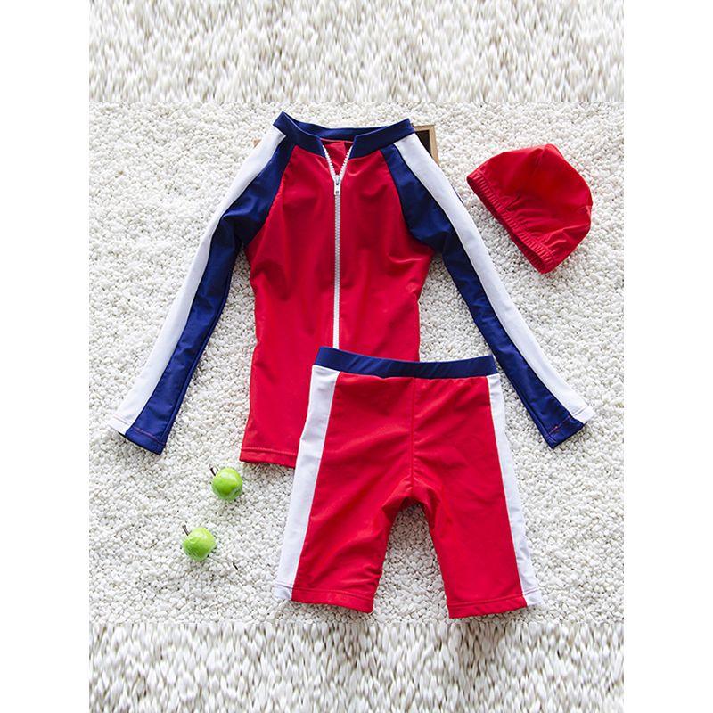 3-piece Color-block Print Elastic Swimwear Set Long-sleeve Top Shorts Cap for Babies Toddlers Boys