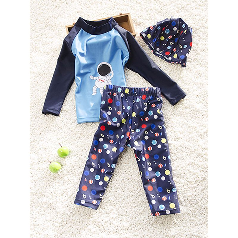 3-piece Astronaut Print Elastic Swimwear Set Long-sleeve Top Pants Cap for Babies Toddlers Boys