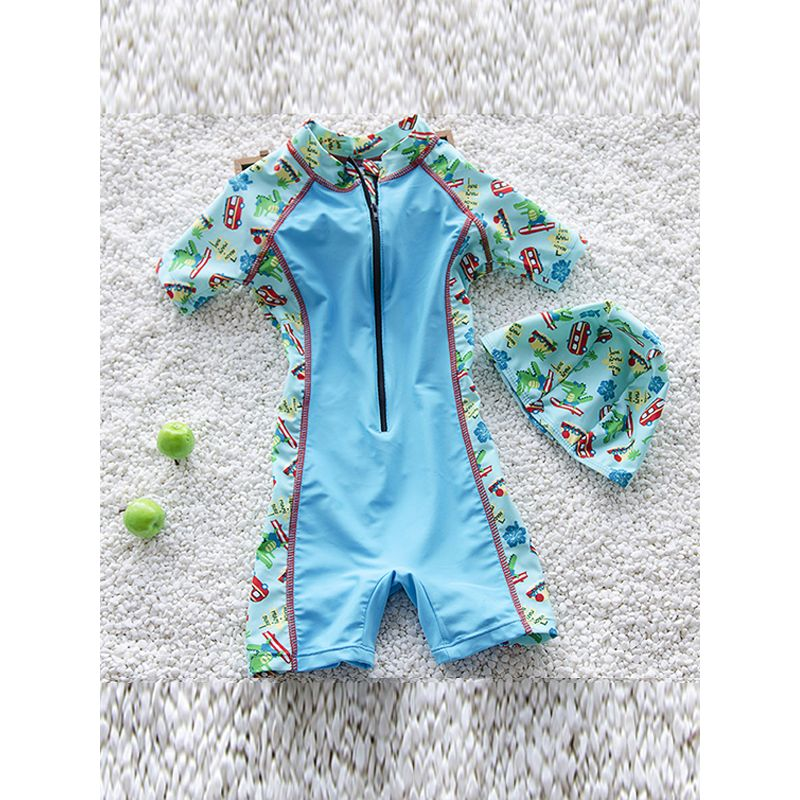 2-piece Color-block Elastic Swimwear Set Long-sleeve Cap for Big Boys