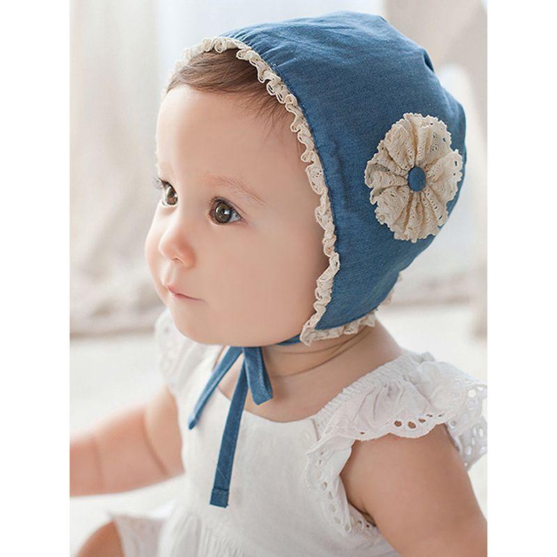 Cute Baby Girls Lace-trimmed Summer Cap Sweet Princess Blue Flower Sunhat