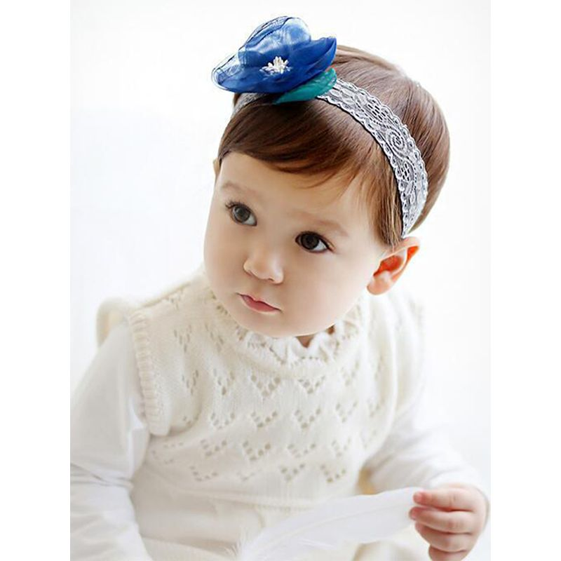 Popular Flower Hairband Lace Cloth Elastic Hair Clasp For Baby Toddler Girls